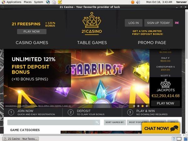 21 Free Spins Online Casinos
