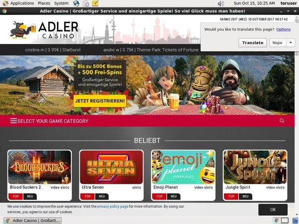 Adlercasino Play Slots
