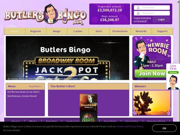 Butlersbingo Online Casino Jackpot