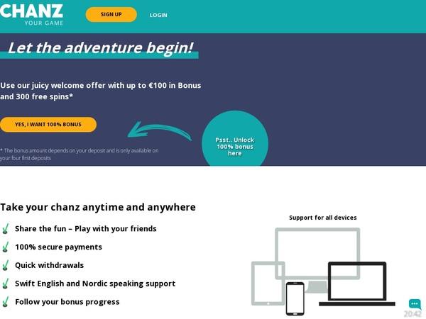 Chanz Signup Bonus Offer