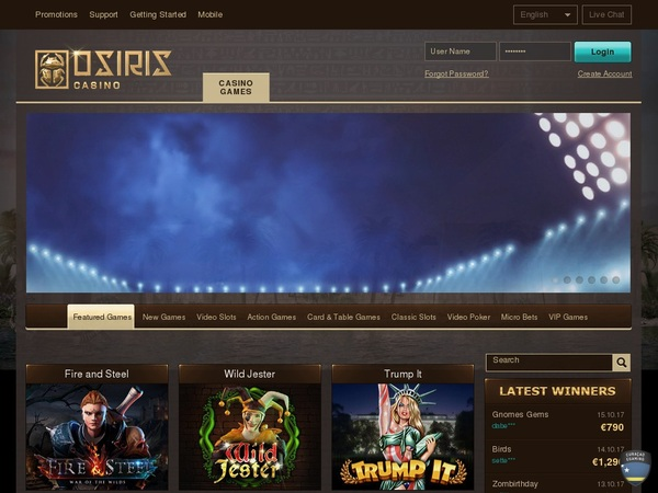 Osiris Casino Full Site