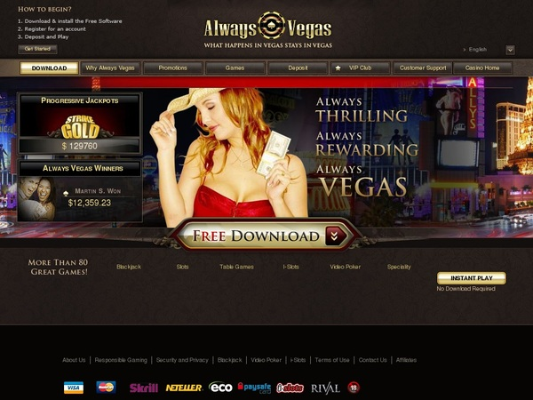 Always Vegas Signup Bonus