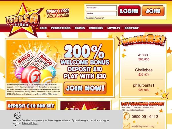Loadsa Bingo Highest Bet