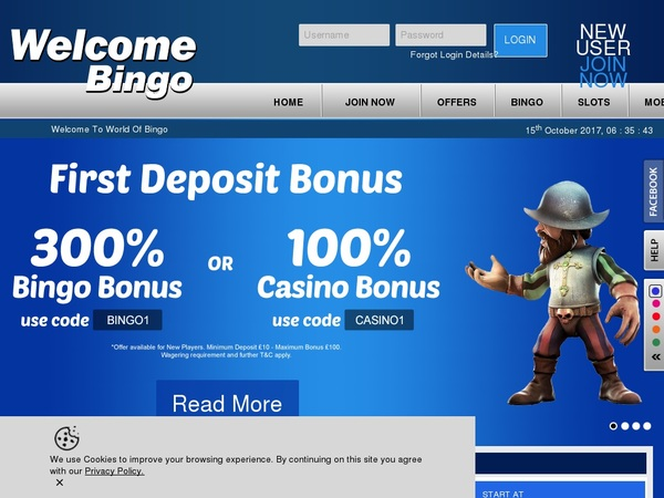 Welcome Bingo Desktop Site Login